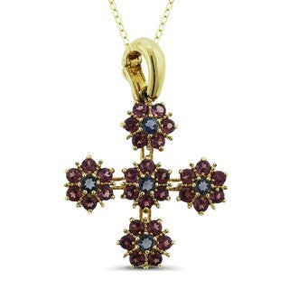Marc & Ivy 14k Yellow Gold Rhodolite and Iolite Floral Cross Enhancer Pendant