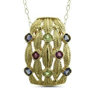 Marc & Ivy 14k Yellow Gold Gemstone Slide Rhodolite, Iolite, Peridot Pendant