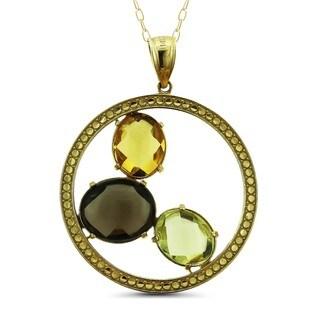 Marc & Ivy 14k Yellow Gold Multi-gemstone Cabochon Medallion Pendant