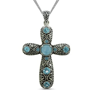 Marc & Ivy Sterling Silver Blue Jade and Blue Topaz Cross Necklace