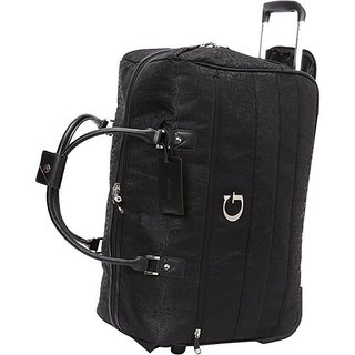 Guess Fenner Collection Black 20-inch Carry-on Fashion Rolling Duffel Bag
