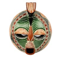 Handmade Song of Love and Peace African Wood Mask (West Africa) - Brown/Green