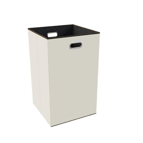 Collapsible Laundry Hamper- Foldable, Lightweight Canvas Clothes Basket by Lavish Home (Beige) - 13.5 x 14.5 x 23