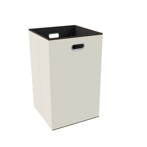 Collapsible Laundry Hamper- Foldable, Lightweight Canvas Clothes Basket by Lavish Home (Beige)