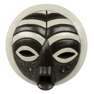 Handmade Rescued African Wood Mask (West Africa) - BLACK/WHITE - N/A