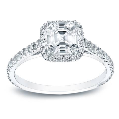 Auriya 1 1/2ctw Halo Asscher Diamond Engagement Ring 14k Gold GIA Certified