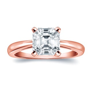 Auriya 14k Gold 1ct TDW Certified Asscher-Cut Diamond Solitaire Engagement Ring (More options available)