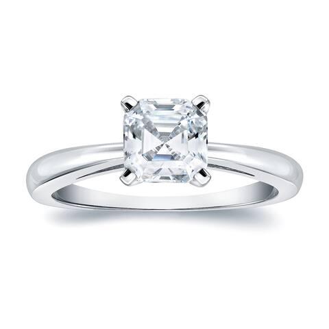 Auriya 14k Gold 1ctw Solitaire Asscher-cut Diamond Engagement Ring Certified