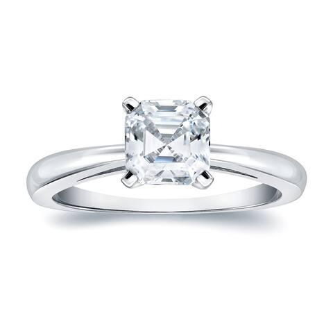Auriya 1 carat TW Solitaire Asscher Diamond Engagement Ring 14K Gold Certified
