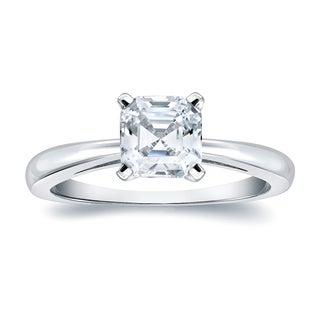 Auriya 14k Gold 1ct TDW Certified Asscher-Cut Diamond Solitaire Ring (E-VVS2)