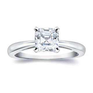 Auriya 14k Gold 1ct TDW Certified Asscher-Cut Diamond Solitaire Engagement Ring