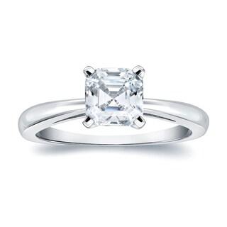 auriya 14k gold 1ct tdw certified asschercut diamond solitaire ring