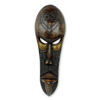 Handmade Love Star African Wood Mask (West Africa) - Brown