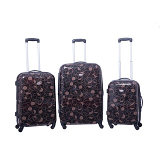 American Flyer Chocolate Swirl 3-piece Expandable Hardside Spinner Luggage Set