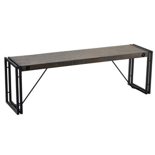 Cortesi Home Thayer Black/Grey Driftwood Bench with Metal Frame