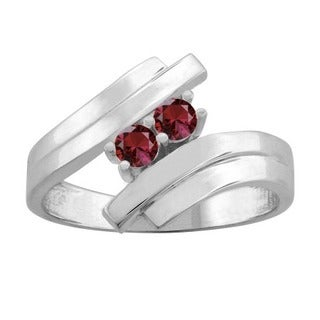 10K White Gold Round 2-stone Mothers Ring