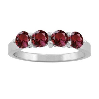 10K White Gold Round 4-stone Mothers Ring