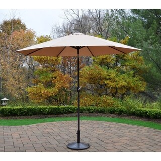 Oakland Living Corporation 9' Umbrella with Cast-iron Stand and Crank and Tilt System