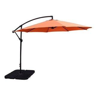 Oakkand Living Orange 10-foot Polyester Troy Umbrella and 4 Piece Fillable Stand