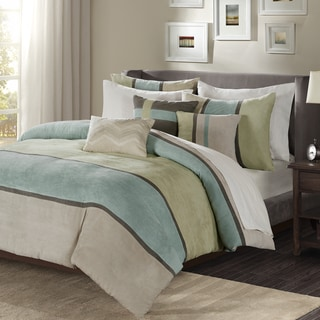 Madison Park Hanover Aqua Solid Pieced 6 Piece Duvet Cover Set