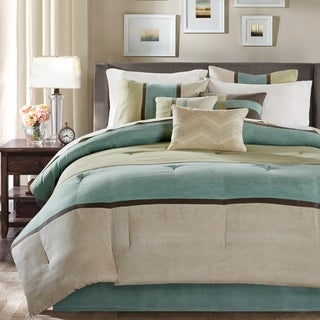 Madison Park Hanover Aqua Solid Pieced 7 Piece Comforter Set