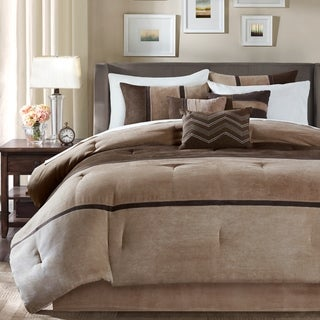 Madison Park Hanover Brown Solid Pieced 7-Piece Comforter Set