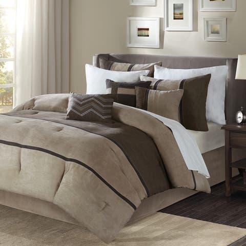 Madison Park Hanover Brown Solid Pieced 7-Piece Comforter Set