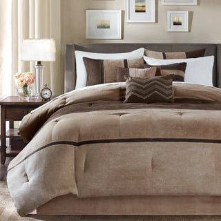 High Quality Madison Park Hanover Brown Solid Pieced 7 Piece Comforter Set