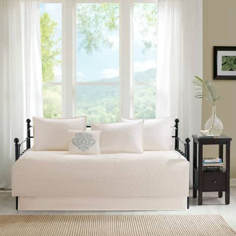 Madison Park Mansfield Ivory Printed 6 Piece Day Bed Cover Set