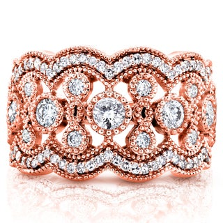 Annello by Kobelli 10k Rose Gold 3/4ct TDW Diamond Antique Beads Wide Anniversary Ring (H-I, I2-I3)