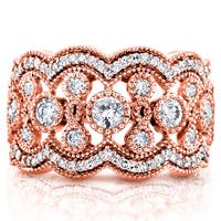 Annello by Kobelli 10k Rose Gold 3/4ct TDW Diamond Antique Beads Wide Anniversary Ring