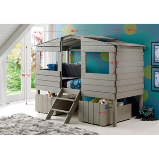 Donco Kids Rustic Grey Finished Pine Wood Twin Tree House Loft Bed with Under-bed Drawers