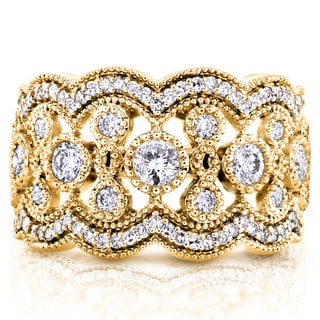Annello by Kobelli 10k Yellow Gold 3/4ct TDW Diamond Antique Beads Wide Anniversary Ring (Option: 4.5)