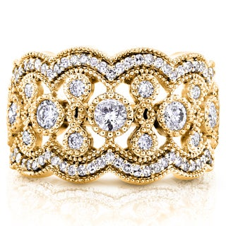 Annello by Kobelli 10k Yellow Gold 3/4ct TDW Diamond Antique Beads Wide Anniversary Ring (H-I, I2-I3)