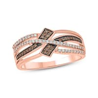 10K Rose Gold 1/4ct TDW Champagne & White Diamond Twisted Cocktail Ring (H-I and Champagne, I1-I2)