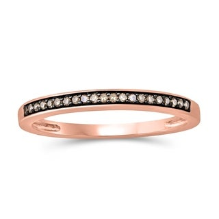 10k Rose Gold 1/10ct TDW Champagne Diamond Anniversary Band