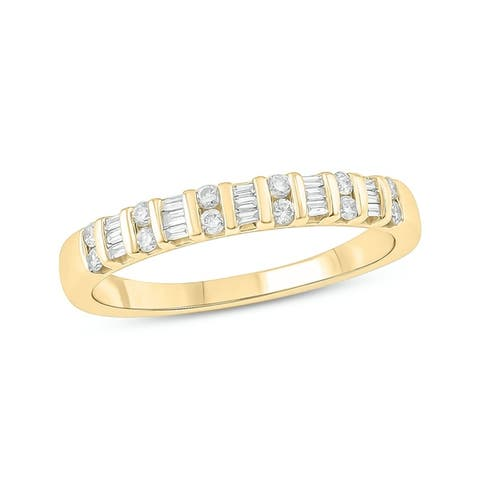 Cali Trove 10K White Yellow Rose Gold 1/4ct TDW Round White Diamond Anniversary Band