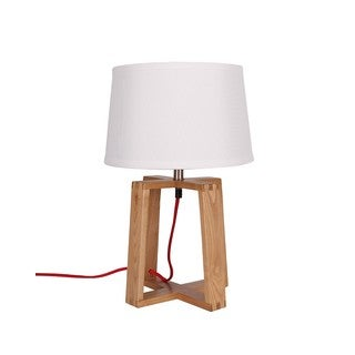 Ash Wood 17.7-inch Table Lamp With White Empire Shade