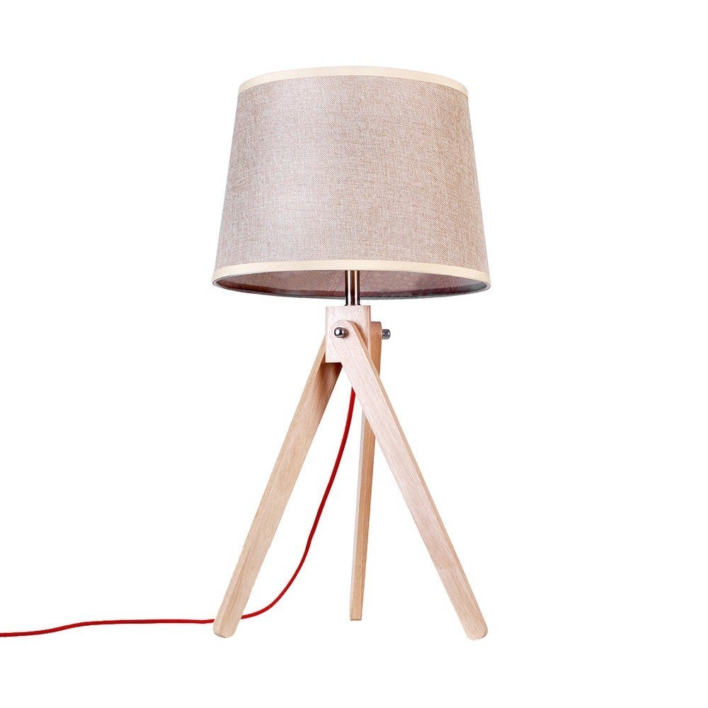 Wood Tripod Table Lamps with Empire Shade (Brown)
