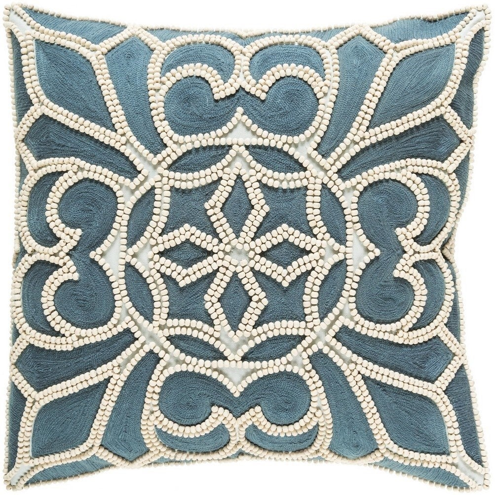 Decorative Soham 22-inch Feather Down or Poly Filled Throw Pillow (Down - Blue/Off-White)