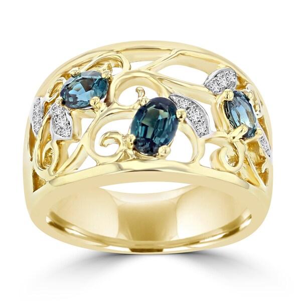 La Vita Vital 18K Yellow Gold 0.80ct TGW Brazilian Alexandrite and Diamond Cocktail Ring (VS-SI1, G-