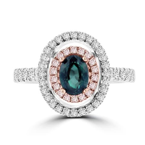 La Vita Vital 18K White Gold .79ct TGW Brazilian Alexandrite and Diamond Statement Ring