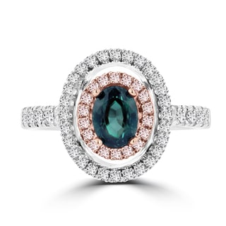 La Vita Vital 18K White Gold .79ct TGW Brazilian Alexandrite and Diamond Statement Ring (VS-SI1, G-H)