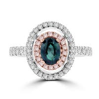 La Vita Vital 18K White Gold .79ct TGW Brazilian Alexandrite and Diamond Statement Ring