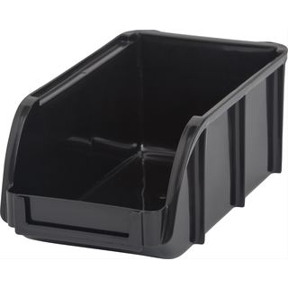 Iris Black Plastic Small Open-front Stacking Bin (Pack of 12)