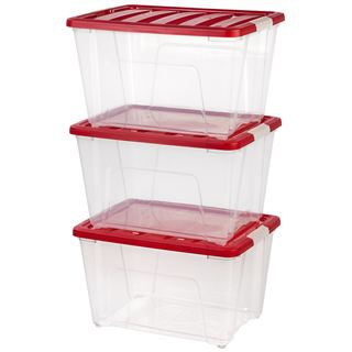 IRIS Holiday Plastic Storage Tote (Pack of 3)