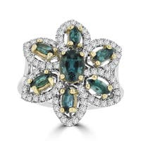 La Vita Vital 18K White Gold 1.64ct TGW Brazilian Alexandrite and Diamonds Cocktail Ring