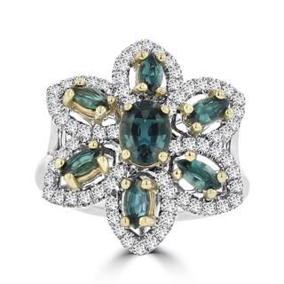 La Vita Vital 18K White Gold 1.64ct TGW Brazilian Alexandrite and Diamonds Cocktail Ring