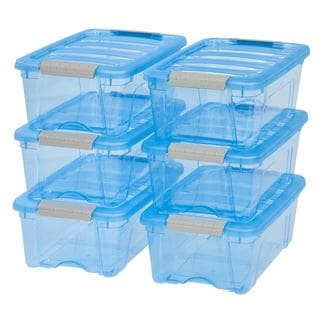 Iris Stack and Pull Transparent Blue Plastic 12-quart Storage Boxes (Pack of 6)