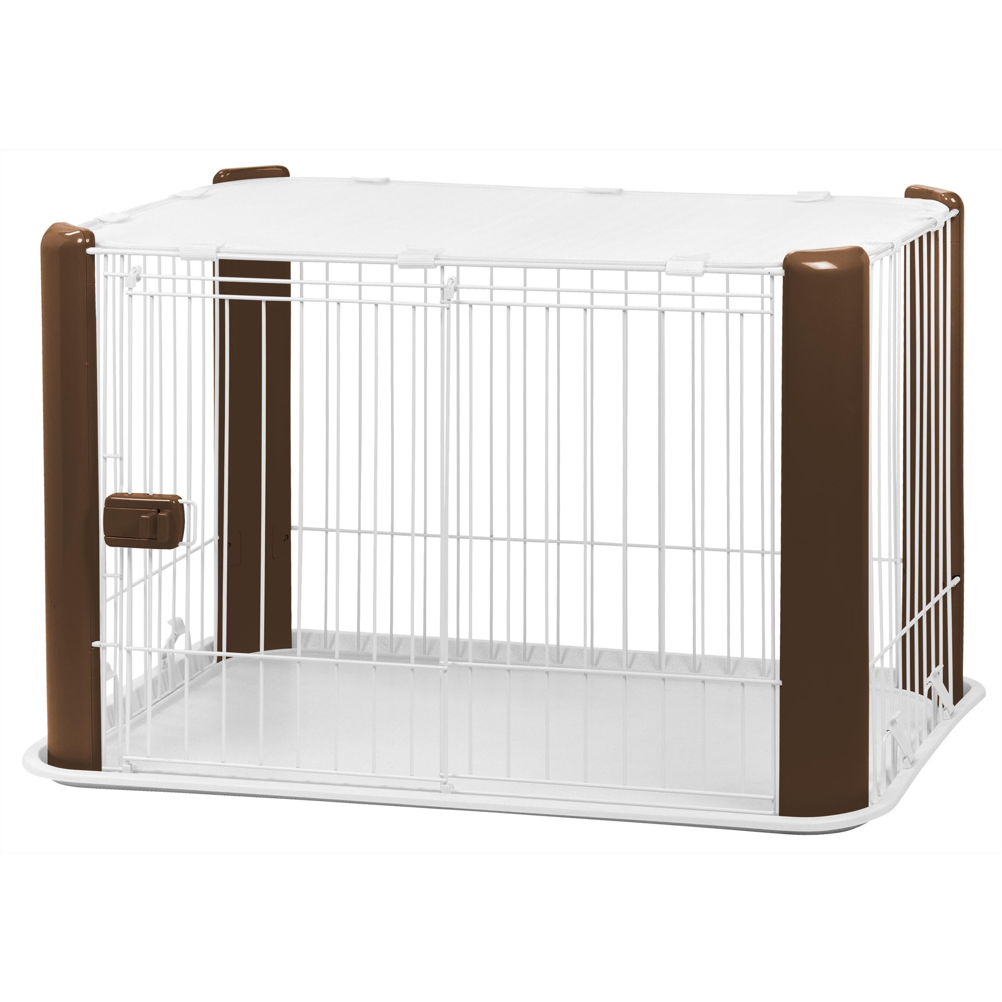 USA Iris Small Wire Pet Play Pen with Roof (Brown)